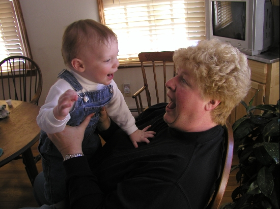 Happy baby with happy Grandma